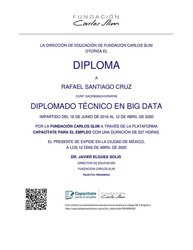 Diplomado Técnico en Big Data Rafael Santiago Cruz