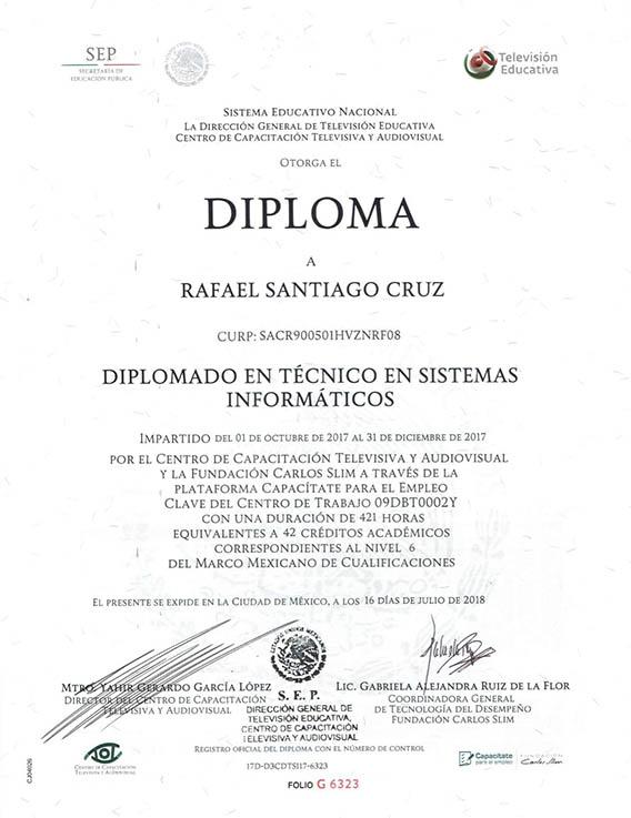 Rafael-Santiago-Cruz Diplomado en Técnico en Sistemas Informaticos