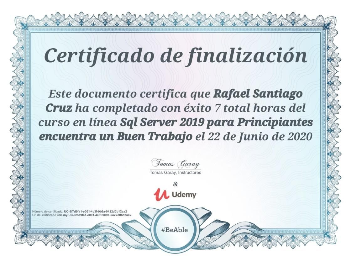 Udemy SQL Server 2019 para principiantes encuentra un buen trabajo Rafael Santiago Cruz