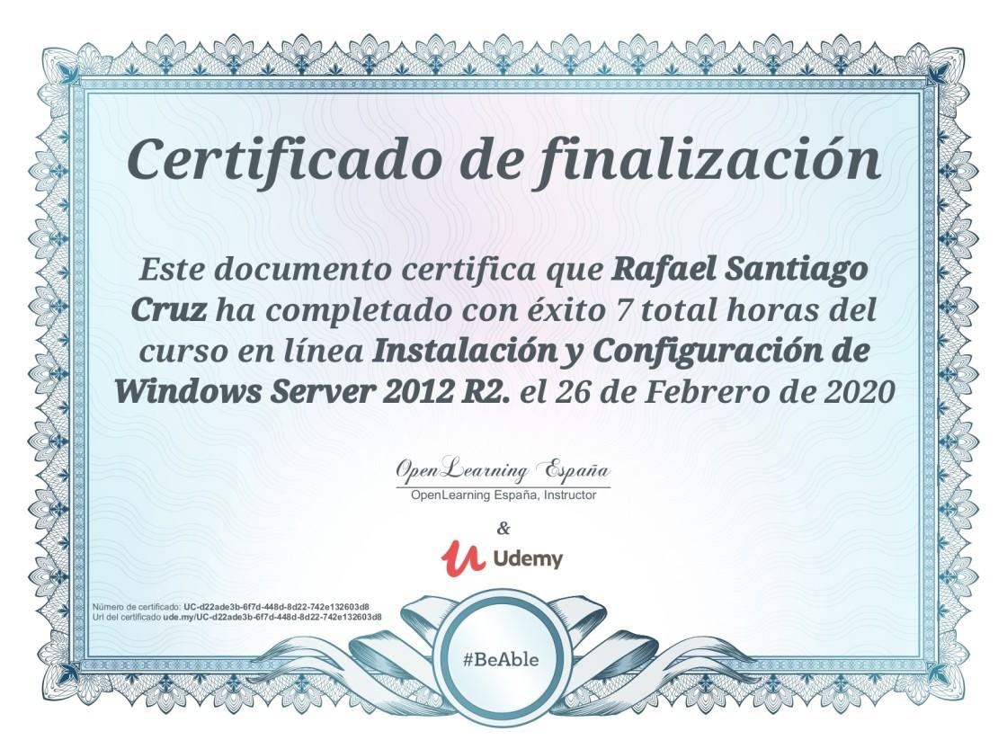 Udemy Instalación y configuración de Windows Server 2012 R2 Rafael Santiago Cruz