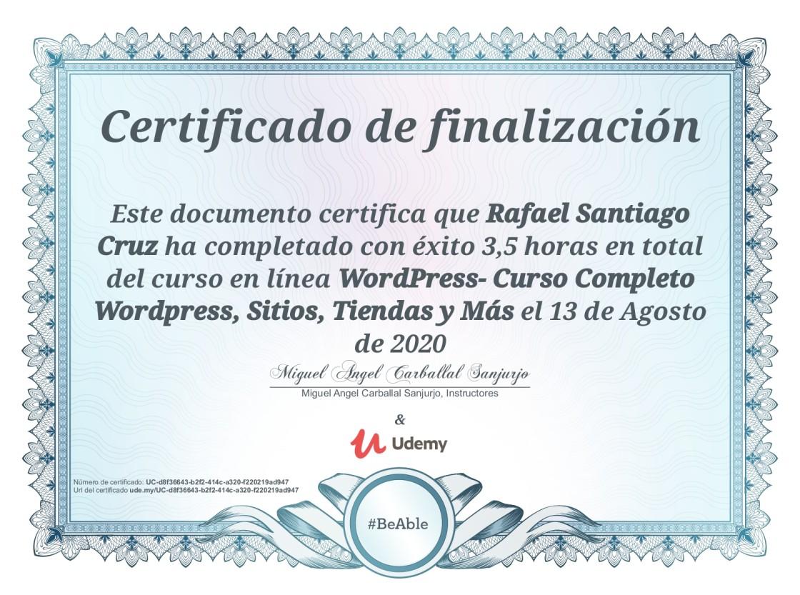 Udemy Rafael Santiago Cruz WordPress Curso completo