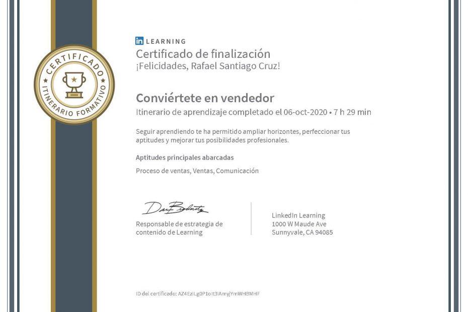 Rafael Santiago Cruz Certificado Conviertete en vendedor