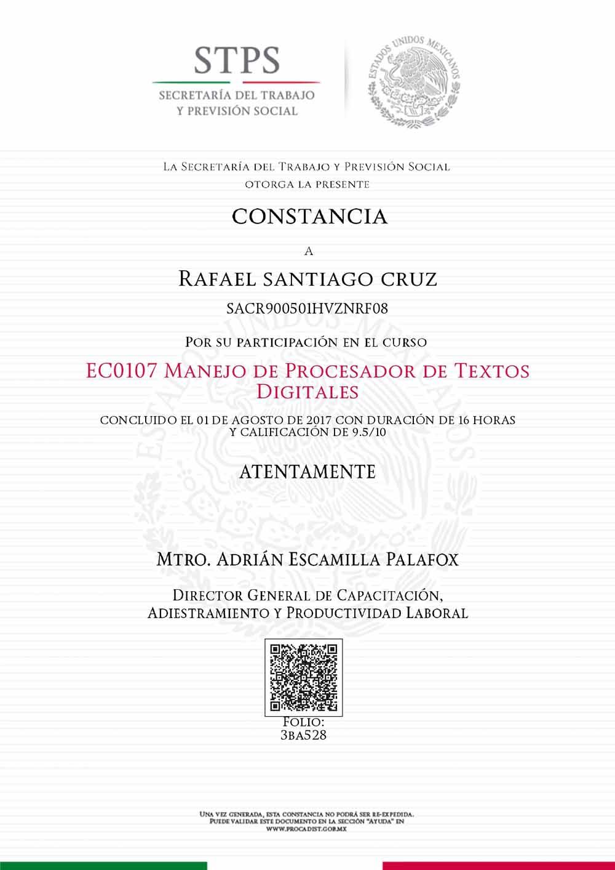 Rafael Santiago Cruz EC0107 Manejo del procesador de textos digitales