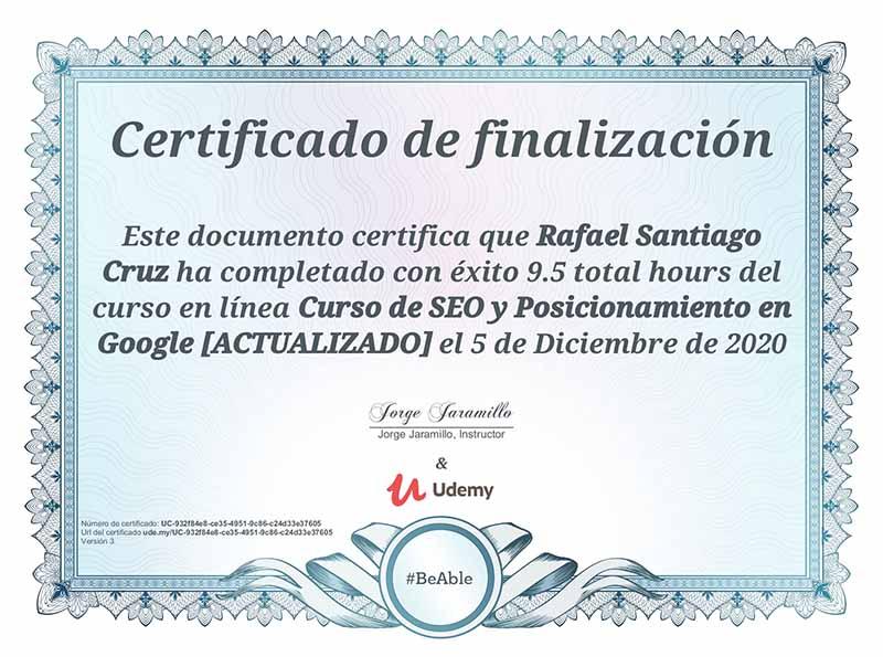 Curso de SEO y posicionamiento en Google Udemy Rafael Santiago
